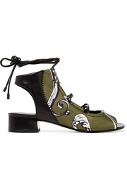 3.1 Phillip Lim Drum leather-paneled printed satin sandals