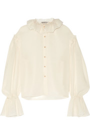 Ruffled wool-blend voile blouse