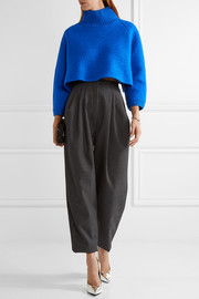 Vika Gazinskaya Cropped wool-bouclé turtleneck sweater