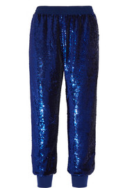 Ashish Sequined silk-georgette track pants