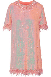Ashish Embellished sequined silk-georgette mini dress