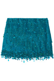 Ashish Sequined silk-georgette mini skirt