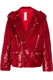 Ashish Sequined cotton biker jacket