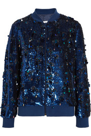 Ashish Sequined silk-georgette bomber jacket