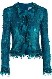 Ashish Sequined cutout silk-georgette top