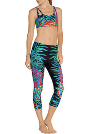 Cropped printed stretch-jersey leggings