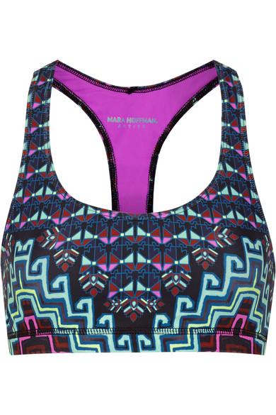 mara hoffman female 236621 mara hoffman printed meshpaneled stretchjersey sports bra navy