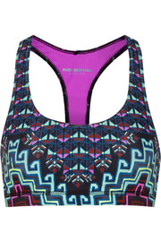 Printed mesh-paneled stretch-jersey sports bra