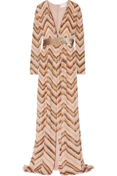 Zuhair Murad - Sequin-embellished Georgette Gown - Blush
