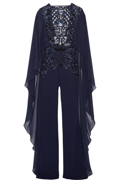 Zuhair Murad - Embellished Tulle, Chiffon And Silk-blend Crepe Jumpsuit - Navy
