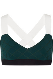 Ola color-block quilted stretch-jersey sports bra
