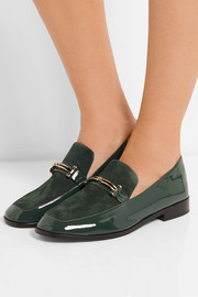 NewbarK Melanie patent-leather and suede loafers