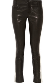 Grosgrain-trimmed leather skinny pants