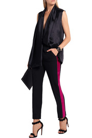 Haider Ackermann Satin-trimmed wool straight-leg pants