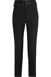 Haider Ackermann Lace-up satin-trimmed wool slim-leg pants
