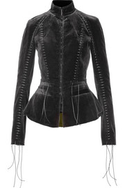 Haider Ackermann Lace-up velvet jacket