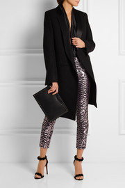 Haider Ackermann Grosgrain-trimmed silk-blend jacquard and leather skinny pants