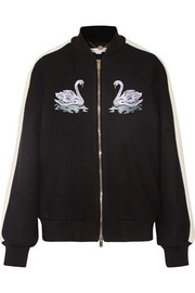 Lorinda embroidered melton wool-blend bomber jacket