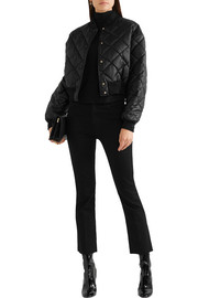 Marisa cropped quilted faux leather bomber jacket