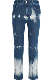 Cropped tie-dyed high-rise bootcut jeans