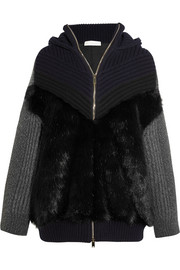 Stella McCartney Oversized faux fur-paneled ribbed wool hooded cardigan