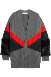 Stella McCartney Oversized faux fur-paneled ribbed wool cardigan