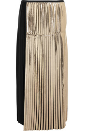 Carmen metallic-paneled pleated crepe maxi skirt