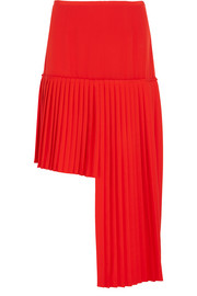 Stella McCartney Arianna asymmetric pleated wool-crepe skirt