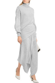 Asymmetric stretch wool-blend bouclé maxi skirt