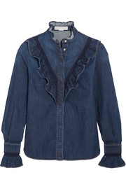 Lace-trimmed ruffled denim shirt