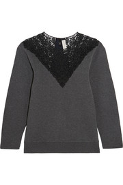Stella McCartney Lace-paneled cotton-blend jersey sweatshirt