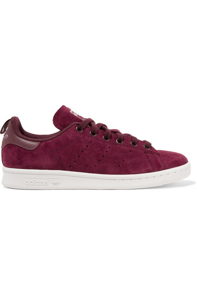 Adidas Originals - Stan Smith Leather-trimmed Suede Sneakers - Burgundy