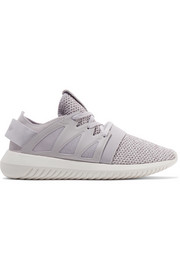 Tubular Viral leather-trimmed textured-knit sneakers