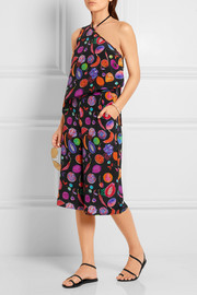 Matthew Williamson We Liming one-shoulder printed silk crepe de chine top