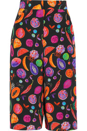 We Liming printed silk crepe de chine culottes