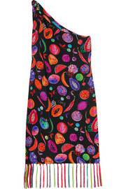We Liming one-shoulder printed silk crepe de chine dress