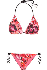 Parlatuvier Palm printed triangle bikini