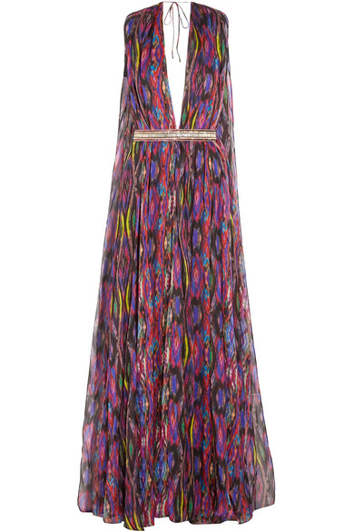 Matthew Williamson - Sweetie Ragadang Embellished Printed Silk-chiffon Gown - Fuchsia