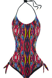 Matthew Williamson Sweetie Ragadang cutout printed halterneck swimsuit