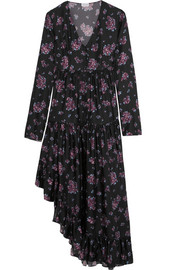 Rovigo ruffled floral-print silk dress