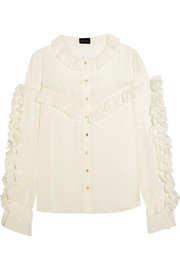 Bruges ruffled silk blouse