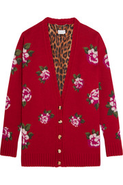 Rochester floral-intarsia wool and cashmere-blend cardigan