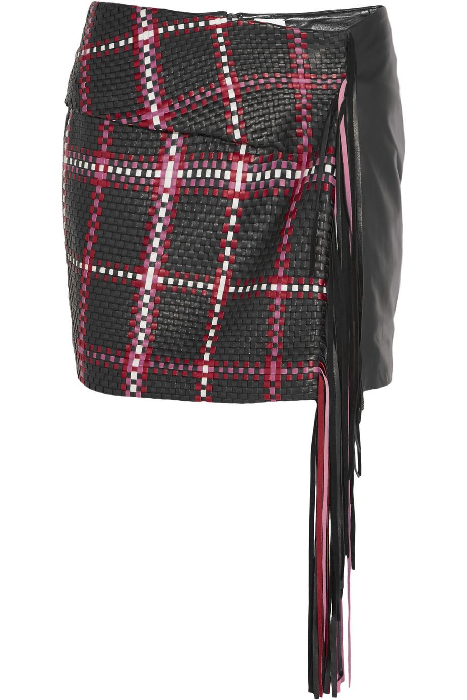 Santa Fe Fringed Woven Leather Mini Skirt, Black, Women's, Size: 40