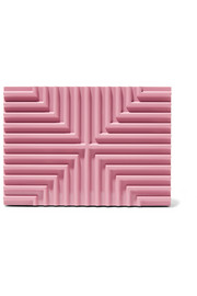 Lee Savage Cross Stack pink brass box clutch