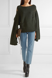 Chalayan Open-back distressed merino wool and cashmere-blend sweater