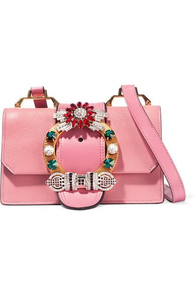 8a0c5f3ece9 Miu Miu. Madras embellished textured-leather shoulder bag