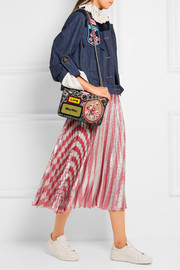 Miu Miu Leather-trimmed appliquéd floral-jacquard shoulder bag
