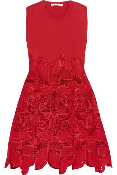 Antonio Berardi - Knitted And Guipure Lace Dress - Crimson