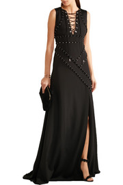 Embellished stretch-jersey crepe gown