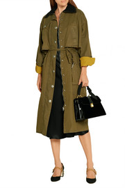 Wool-trimmed waxed-cotton coat